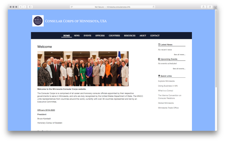Screenshot of a Consular Corps site